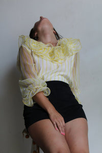 1960s Striped Ruffle Yellow + White Blouse