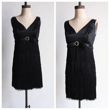 Load image into Gallery viewer, 1960s Black Satin Empire Waist Fringe Cocktail Dress