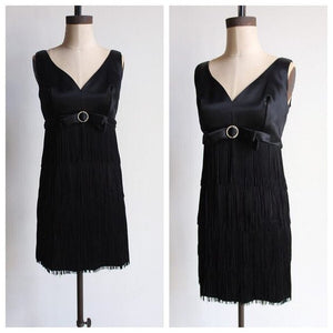 1960s Black Satin Empire Waist Fringe Cocktail Dress