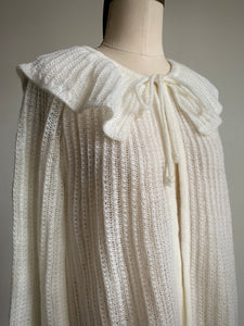 1970s White Pierrot Collar Cardigan