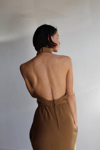 1950s Tan Cashmere Wool Halter Maxi Dress with Funnel Neck + Open Back