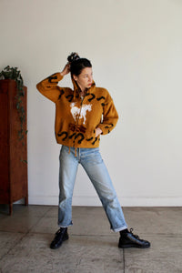 1980s Western Brown Soft Wool Zip Up Hooded Sweater