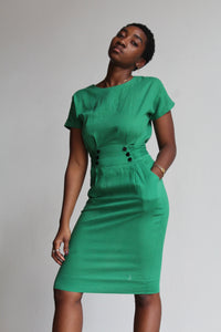 1950s Green Cotton Wiggle Dress with Button Up Back + Sash