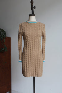 1960s Tan Cable Knit Pullover Dress with Turquoise + White Trimmed Collar