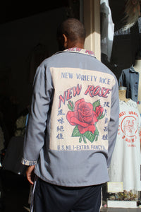 New Rose Rice Sack Blue Grey Long Sleeve Button-Up