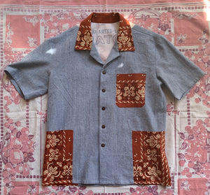 Botan Rice Railroad Stripe Button Up with Bandana Patchwork