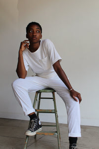 1980s White Cotton Jumpsuit