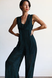 1990s Teal Blue Marbled Semi-Sheer Deep Neckline Jumpsuit with Built-In Shorts