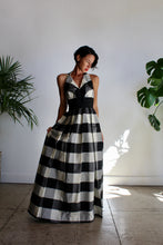 Load image into Gallery viewer, 1950s-60s Black & White Plaid Taffeta Halter Gown