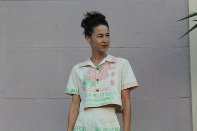 Malayan Rose Patchwork Cropped Button-up
