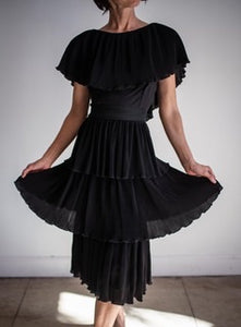 1960s Black Accordian Pleated Tiered Cocktail Dress