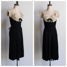 Load image into Gallery viewer, 1940s Black Jersey White Soutache Lace Dress by Betty Clyne