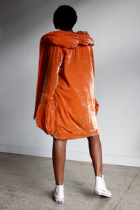1930s Orange Silk Velvet Cocoon Coat