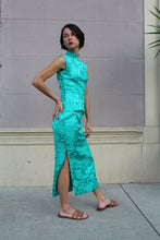 Load image into Gallery viewer, 1960s Turquoise Brocade Cheongsam Dress