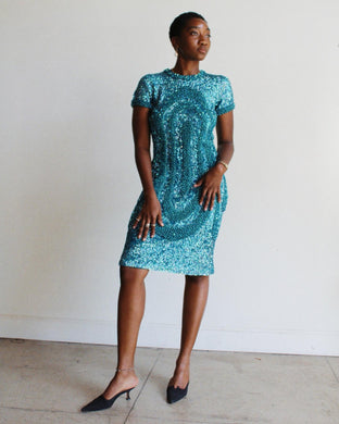 1950s 60s Gene Shelly Turquoise Sequin Knit Wiggle Dress