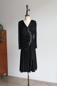 1980s Black Satin Jersey Gathered Evening Dress with Large Floral Sequin Appliqués