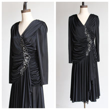 Load image into Gallery viewer, 1980s Black Satin Jersey Gathered Evening Dress with Large Floral Sequin Appliqués