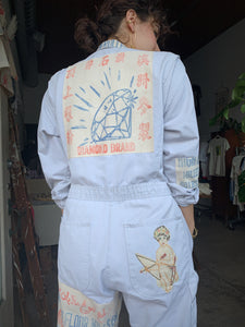 Diamond Flour Sack Patchwork Coveralls