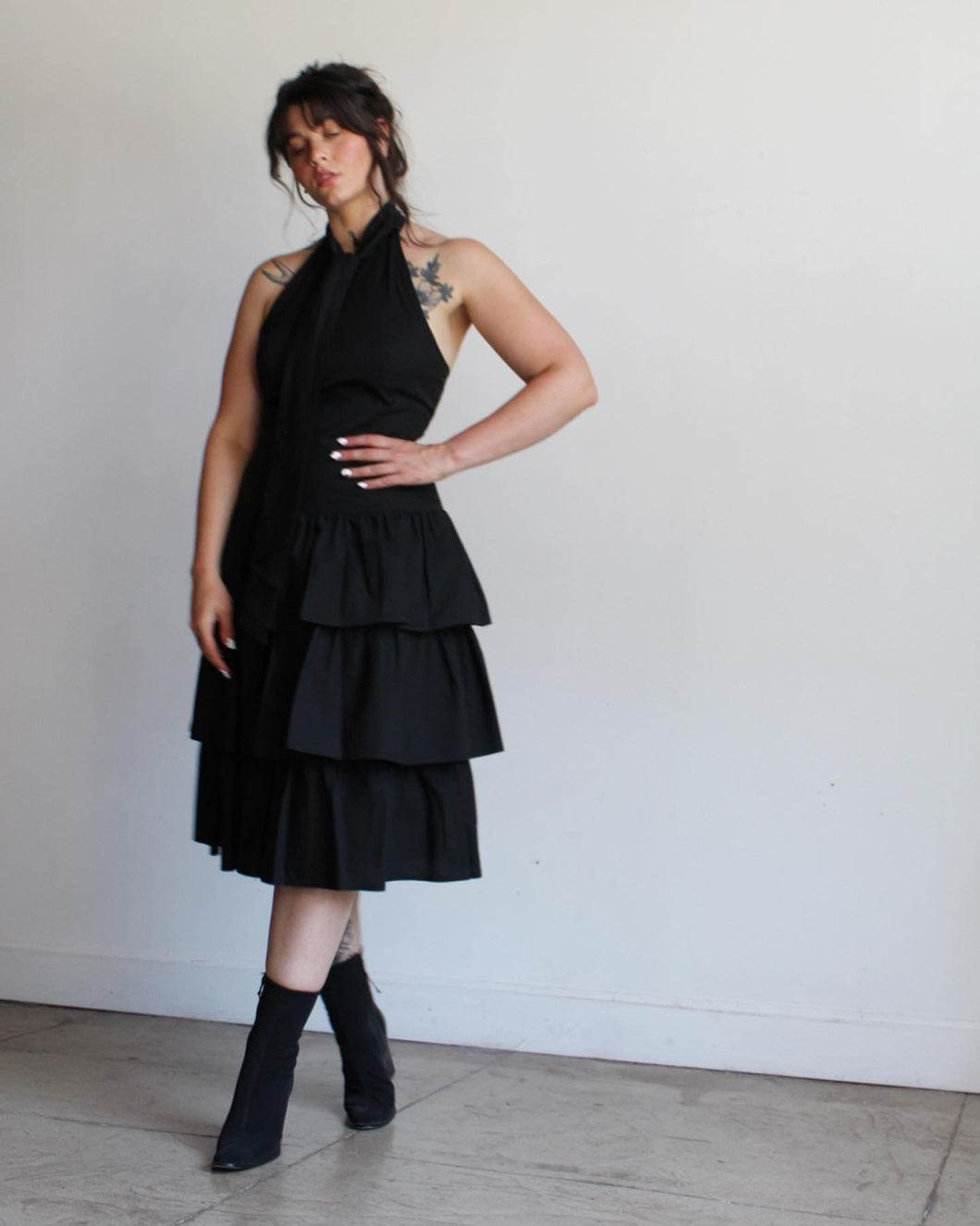 1980s Black Halter Ruffle Dress