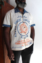 Load image into Gallery viewer, 5 Tigers Flour Sack + African Wax Fabric Button-up