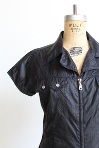 1990s Black Nylon Zip Up Western Blouse