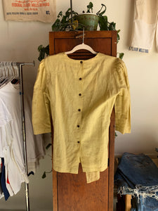 90s Buttercup Yellow Linen Blouse with Black Floral Crochet Appliqués with Self Belt