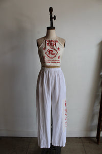 Vintage White Gauze Pants with Patched Rice Bag Fabric