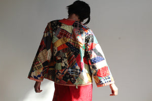 1930s Crazy Quilt Patchwork Jacket with Multicolored Hand Embroidery