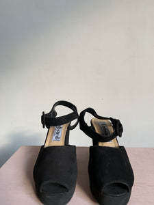 90s Black Leather Peep Toe Wedge Shoes