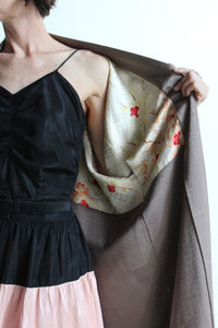 1950s taupe silk blend kimono with cherry blossom print lining