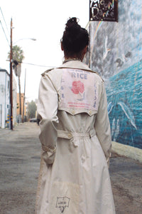 Blue Rose Rice Sack Patchwork Trench Coat