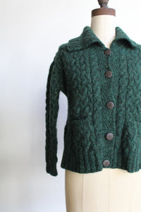 Vintage Forest Green Wool Cableknit Fisherman's Cardigan Sweater