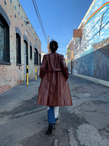 1970s Chestnut Brown Leather Trench Coat