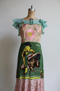 1930s-Style Old Mexico Mixed Fabric Scarf Dress by 3 Women (Green)