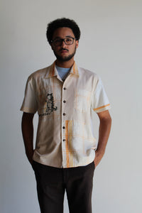 Monday Kitty Gold King Rice Sack Button Up
