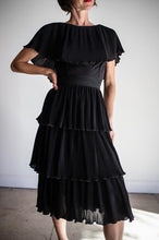 Load image into Gallery viewer, 1960s Black Accordian Pleated Tiered Cocktail Dress