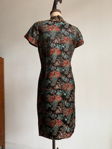 1960s Black Cheongsam Dress with Village Scene and Multi-Colored Flowering Trees