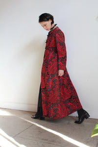 1980s does 60s Red Tapestry Floor Length Coat
