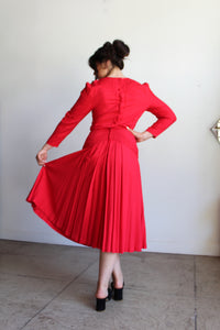 1980s Red Rayon Soutache Dress