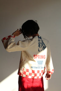 1930s Style Spring Horse Feed Cropped Cotton Jacket