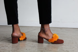 1960s Terra Cota Felt Slip On Mules with Carrot Orange Feather Trim