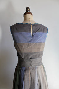 1950s Cotton Fit and Flare Stripe Set ~ Blouse + Full Skirt