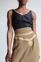 Load image into Gallery viewer, 90s Moschino Cartoon Coutoure Mustard Green Pencil Skirt with Gold Chain Embroidery
