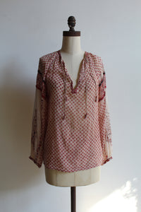 1970s Indian Cotton Red Floral Block Print Blouse