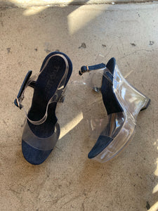 1990s Plastic Platform Shoes with Denim Trim by Two Lips