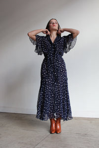 1990s does 1930s Navy Blue Polka Dot Rayon Dress with Ascot Necktie