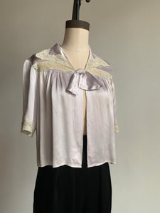 1930s Light Lavender Silk Bed Jacket