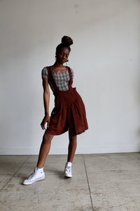 90s Black +Cinnamon Brown Geometric Print Suspender Shorts