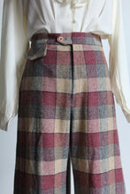 Load image into Gallery viewer, 1970s Mauve Wool Plaid High Waist Trousers