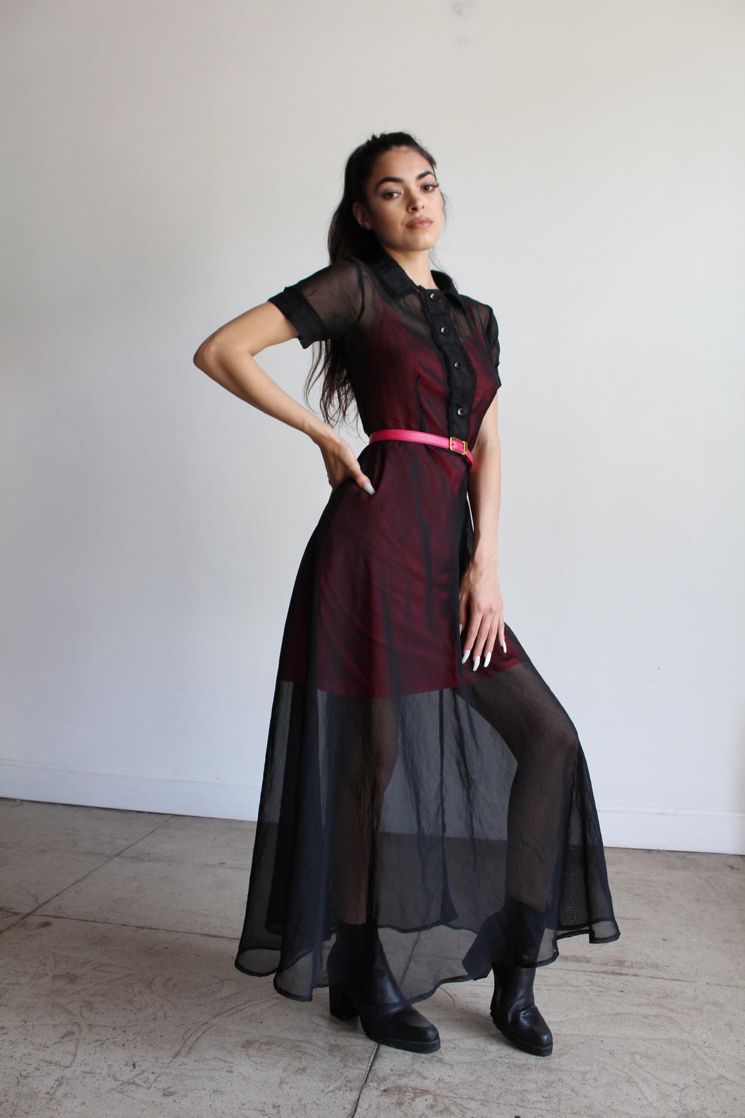 1990s black sheer maxi shirtwaist dress